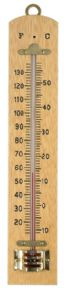 Wood wall thermometer